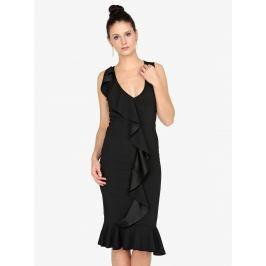 Černé pouzdrové šaty s volánem MISSGUIDED  Dámské šaty