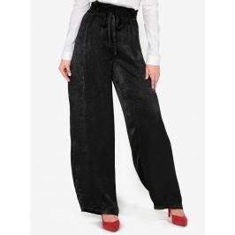 Černé saténové volné kalhoty s páskem a vysokým pasem  MISSGUIDED