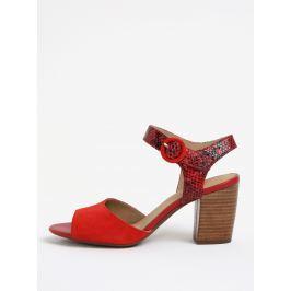 Červené semišové sandálky na podpatku Geox Eudora Dámská obuv