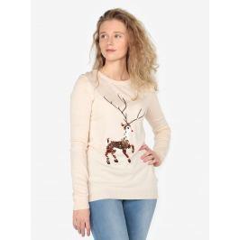Béžový lehký svetr s motivem jelena z flitrů Oasis Xmas Dámské svetry, roláky a pulovry