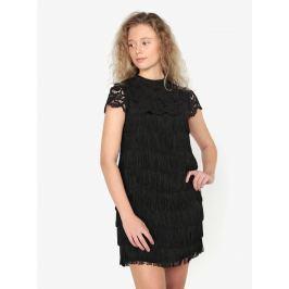 Černé minišaty s třásněmi a krajkou Oasis Fringe Dámské šaty