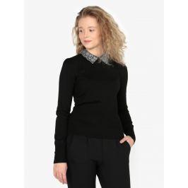 Černý lehký svetr s odnímatelným límečkem Oasis Mettalic Dámské svetry, roláky a pulovry