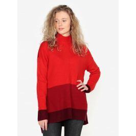 Červený dlouhý oversize svetr s rozparky na bocích Oasis Funnel Dámské svetry, roláky a pulovry