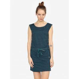 Tmavě modré žíhané šaty s páskem Ragwear Tag  Dámské šaty