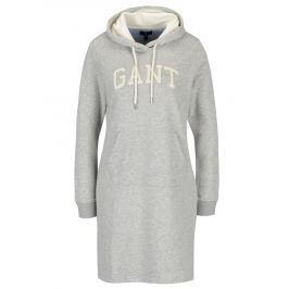Světle šedé žíhané mikinové šaty s kapucí GANT Dámské šaty