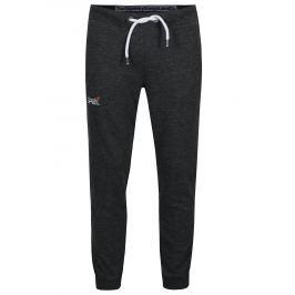Tmavě šedé žíhané slim fit tepláky Superdry  Pánské kalhoty