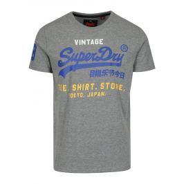 Šedé žíhané tričko s potiskem a krátkým rukávem Superdry  Pánská trička
