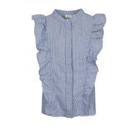 Bílo-modrá holčičí lněná pruhovaná košile bez rukávů name it Dana Trička a košile