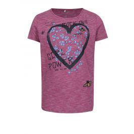 Tmavě růžové holčičí pruhované tričko s potiskem name it Hearty Trička a košile