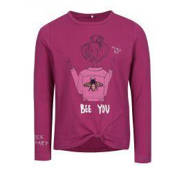 Tmavě růžové holčičí tričko s potiskem name it Hally  Trička a košile