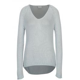 Světle modrý svetr s véčkovým výstřihem VILA Tobina  Dámské svetry, roláky a pulovry