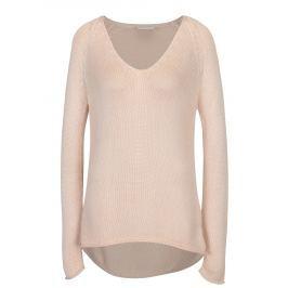 Světle růžový svetr s véčkovým výstřihem VILA Tobina  Dámské svetry, roláky a pulovry