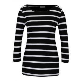 Bílo-černé pruhované tričko s 3/4 rukávem VILA Striped Dámská trička