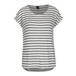 Černo-krémové pruhované tričko VERO MODA Wide Dámská trička