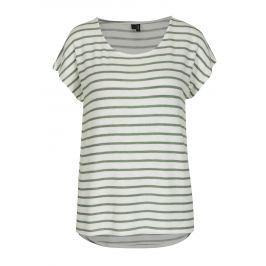 Zeleno-krémové pruhované  tričko VERO MODA Wide Dámská trička