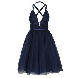 Tmavě modré šaty s odhalenými zády Chi Chi London Ivonette Dámské šaty
