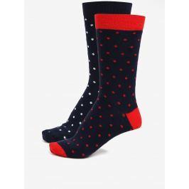 Sada dvou párů tmavě modrých pánských puntíkatých ponožek ZOOT Pánské ponožky
