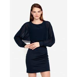 Tmavě modré šaty s průsvitným rukávem VERO MODA Ewa Dámské šaty