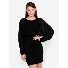 Černé šaty s průsvitným rukávem VERO MODA Ewa Dámské šaty