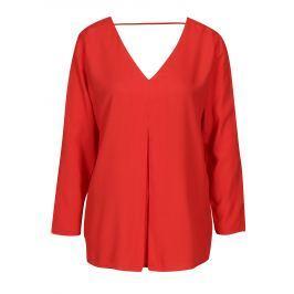 Červená halenka s véčkovým výstřihem ONLY Nova Dámské halenky a košile