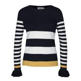 Tmavě modré pruhované tričko s volány ONLY Laura Dámské svetry, roláky a pulovry