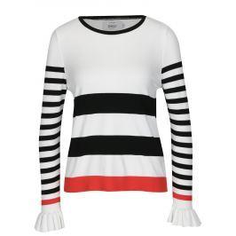 Krémové pruhované tričko s volány ONLY Laura