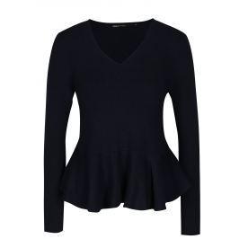 Tmavě modrý crop svetr s volánem ONLY Rosana Dámské svetry, roláky a pulovry