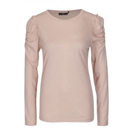 Světle růžové tričko s řasením na ramenou Jacqueline de Yong Fanny Dámská trička