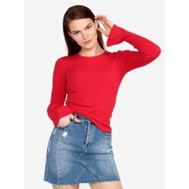 Červený žebrovaný svetr s volány na rukávech Miss Selfridge    Dámské svetry, roláky a pulovry