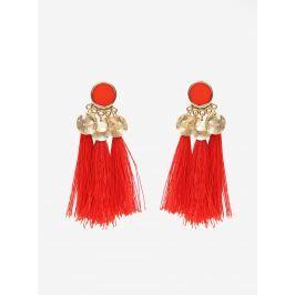Červené náušnice s detaily ve zlaté barvě Pieces Jamila