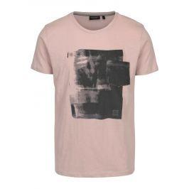 Starorůžové pánské tričko s potiskem Broadway Hince Pánská trička