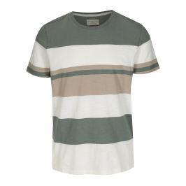 Krémovo-zelené pruhované tričko Selected Homme New Rune Pánská trička