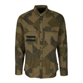 Khaki vzorovaná regular košile s kapsami ONLY & SONS Tank Pánské košile