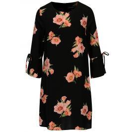 Černé květované šaty s mašlemi na rukávech Dorothy Perkins  Dámské šaty