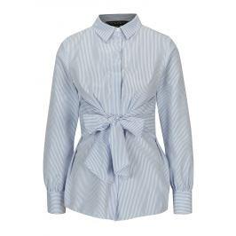 Modro-bílá pruhovaná košile se zavazováním Dorothy Perkins  Dámské halenky a košile