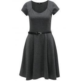 Tmavě šedé žíhané šaty s páskem ZOOT Dámské šaty