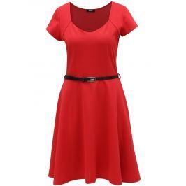 Červené šaty s páskem ZOOT Dámské šaty